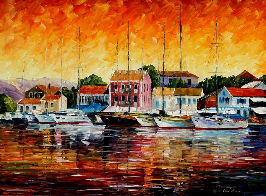 Afremov Painting - Greece - Fiskardos  by Leonid Afremov