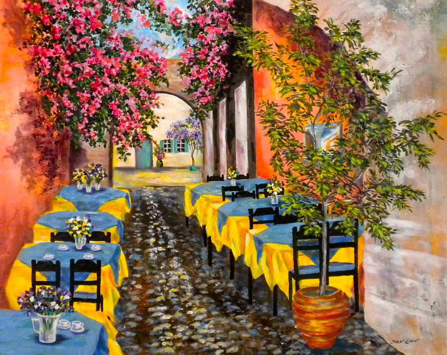 GREECE-A Sidewalk Vista  by Jan Law