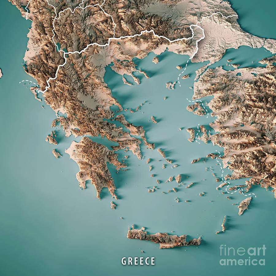 Greece Country 3d Render Topographic Map Neutral Border Digital