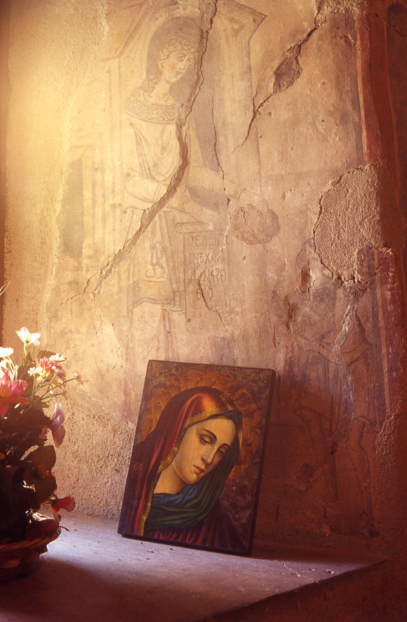 Icon Painting - Greece. Lesvos. 16th Century Fresco And Virgin Mary Icon by Steve Outram