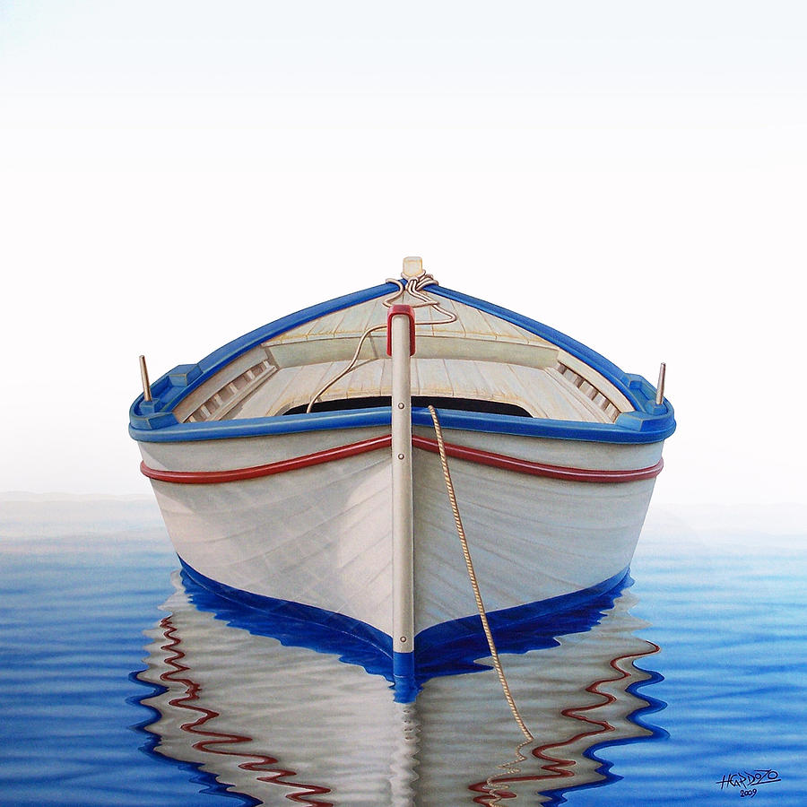 Greek boat painting by horacio cardozo for Fishing boat painting