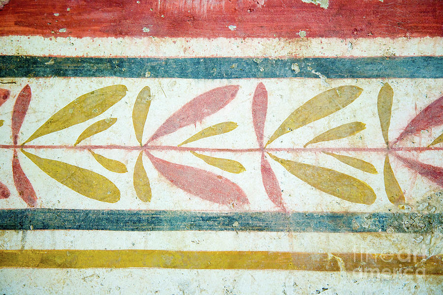 Italy Photograph - Greek Fresco Detail, Paestum, Italy by Damian Davies
