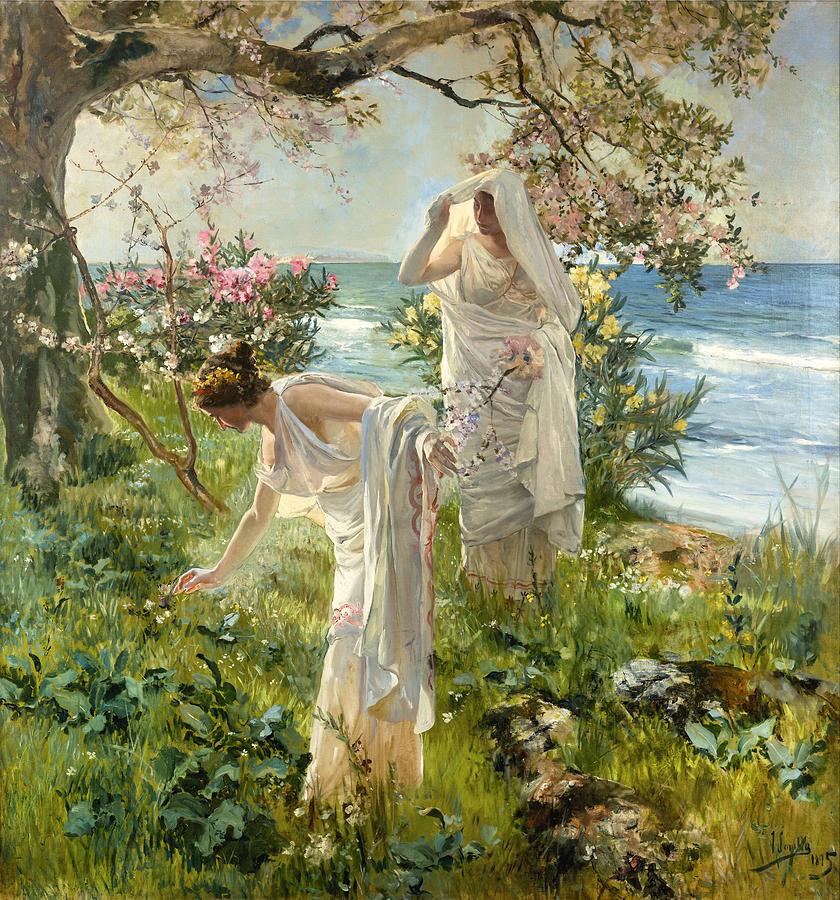 Joaquin Travel Towel: Greek Girls On The Shore Painting By Joaquin Sorolla Y Bastida