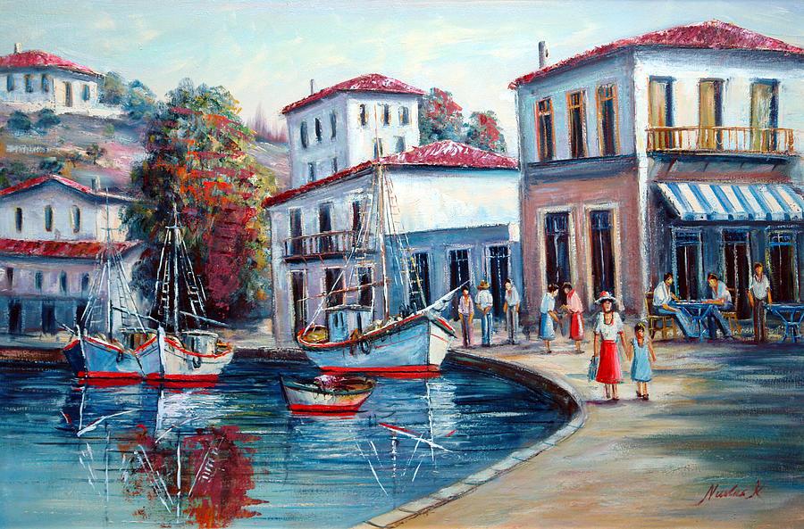 Oil Paintings Painting - Greek Island No 1--90x60 Cm by Nikolas K