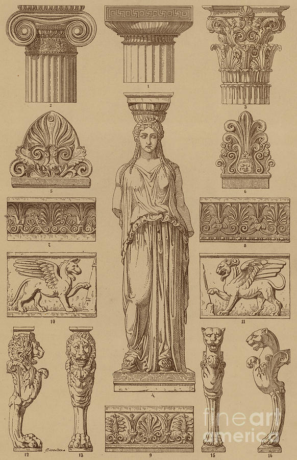 Greek Architecture Drawing greek, ornamental architecture and sculpture drawinggerman school
