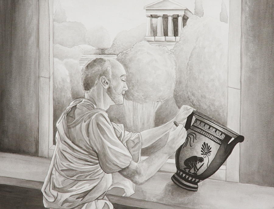 Greece Painting - Greek Pottery by Michelle Miron-Rebbe