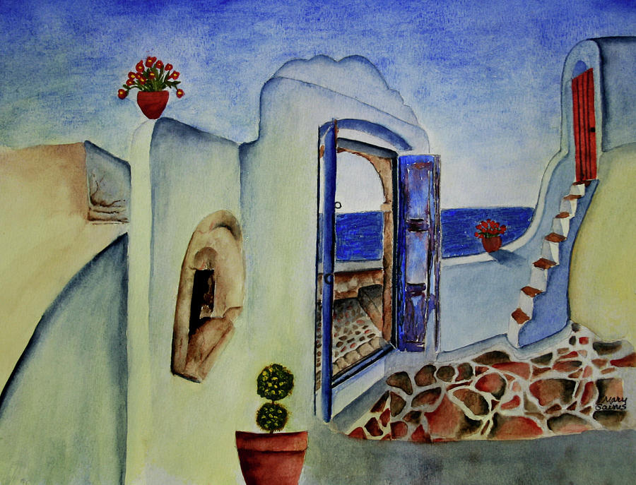 Greek Villa II Painting by Mary Gaines