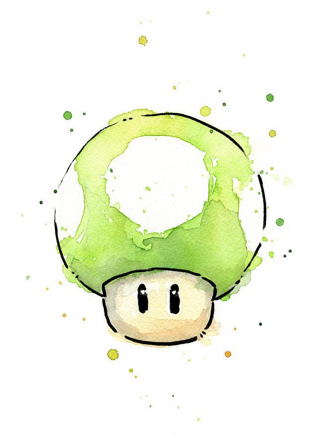 Video Game Painting - Green 1up Mushroom by Olga Shvartsur
