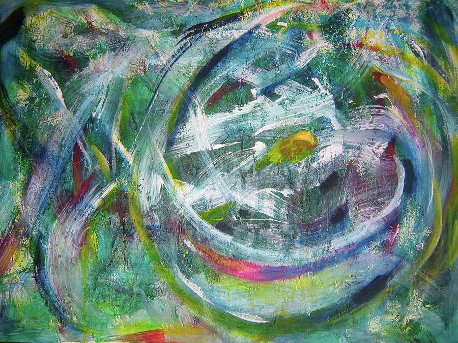 Artist Painting - Green Abstract by Sam Chinkes