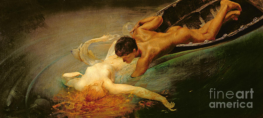 Nude Painting - Green Abyss by Giulio Aristide Sartorio