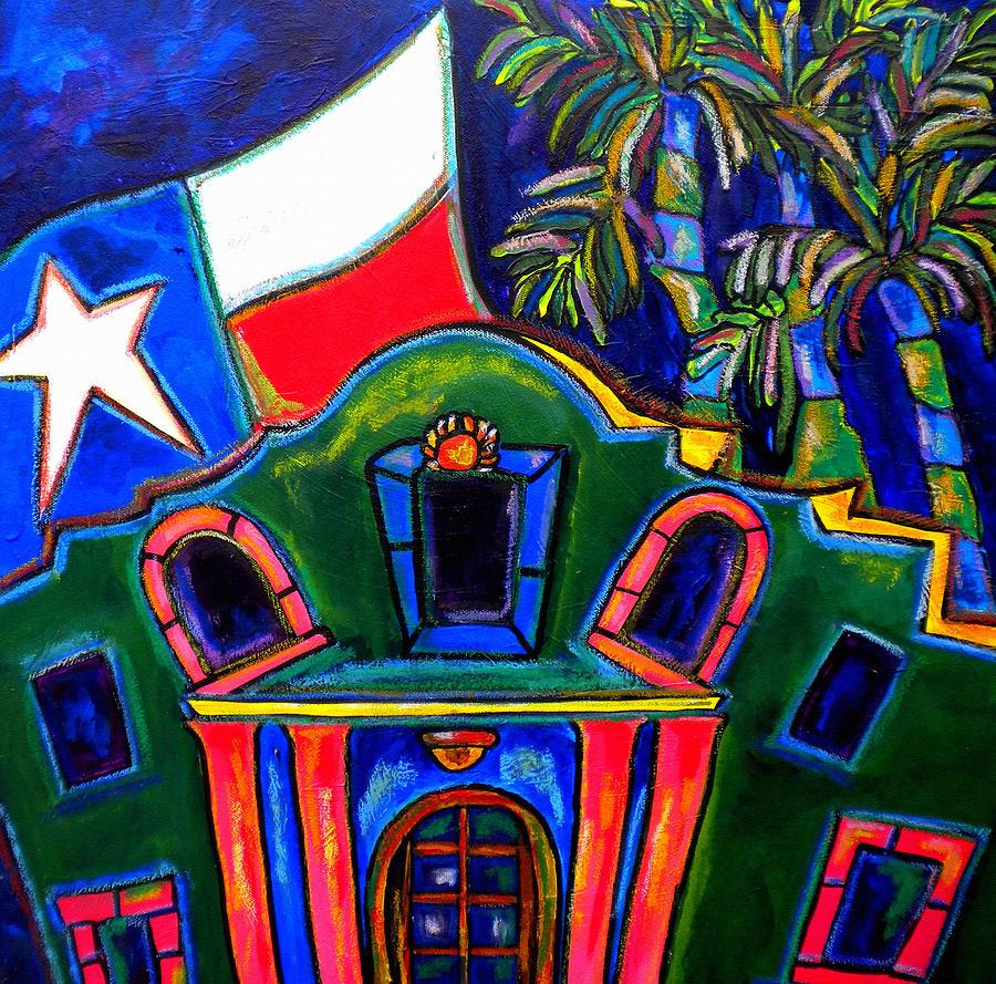 The Alamo Painting - Green Alamo by Patti Schermerhorn