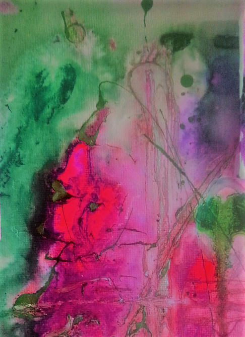 Green And Pink Painting by Jan Pellizzer