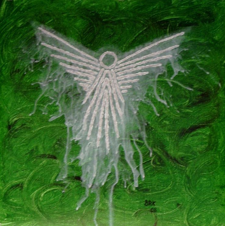 Angel Painting - Green Angel by Bo Klinge