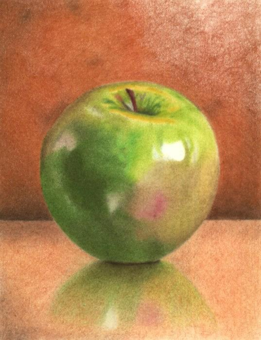 Still Life Drawing - Green Apple by Brian Duey