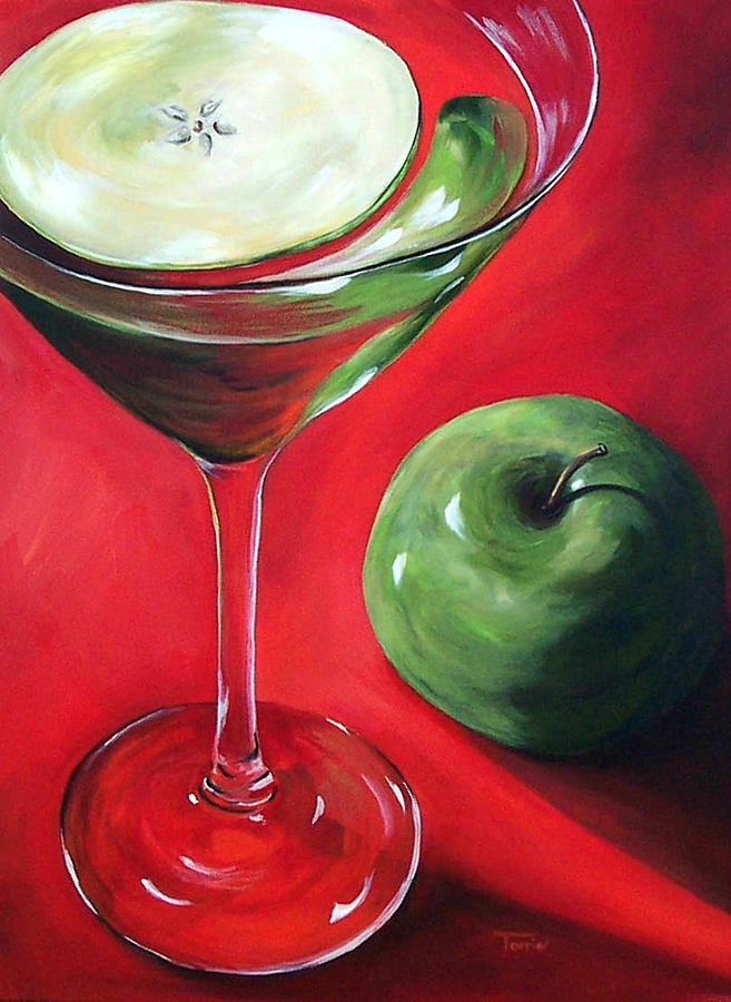 Martini Painting - Green Apple Martini by Torrie Smiley