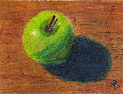 Apple Painting - Green Apple On Table by Susan Carr