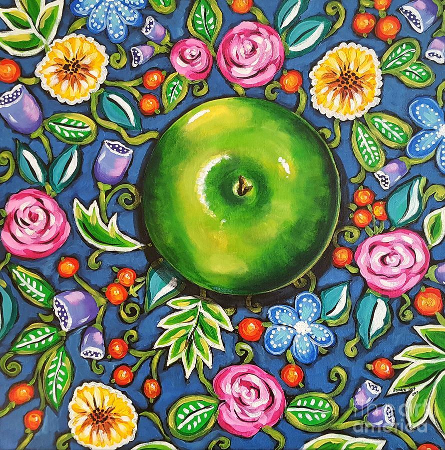 Green Apple Painting - Green Apple by Sandra Lett