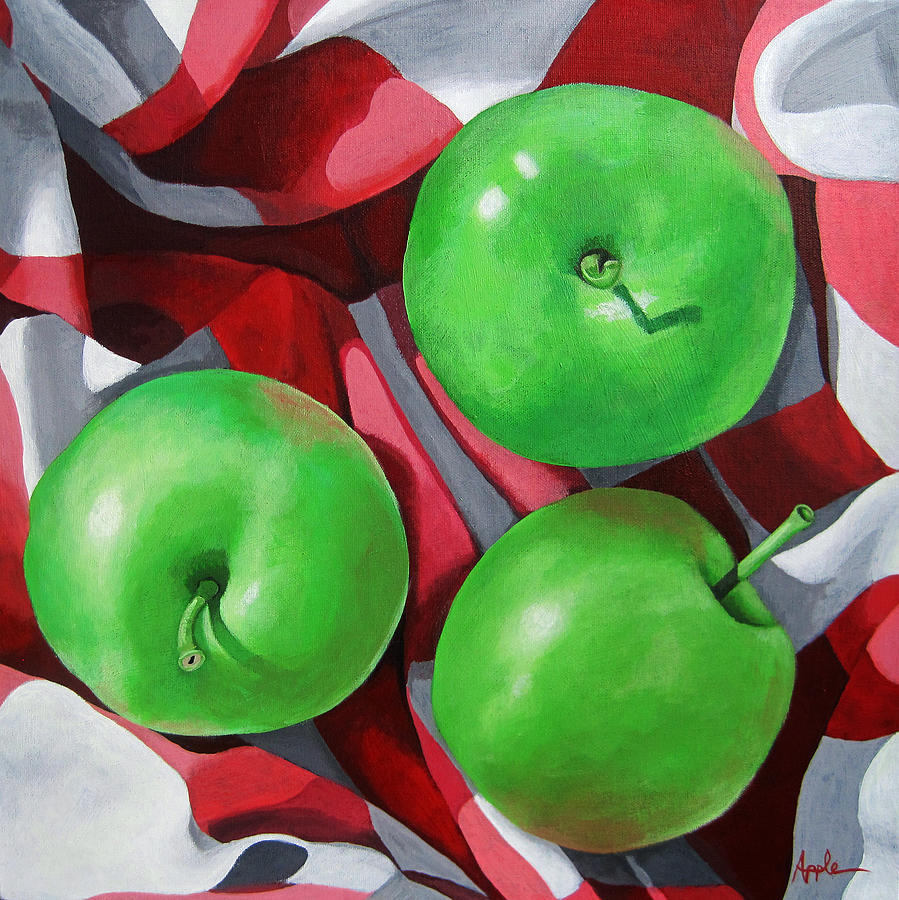 Apples Painting - Green Apples still life painting by Linda Apple