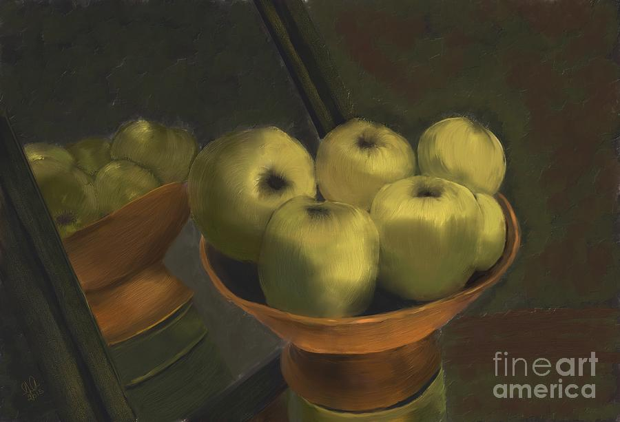 Fruit Digital Art - Green Apples by Sydne Archambault