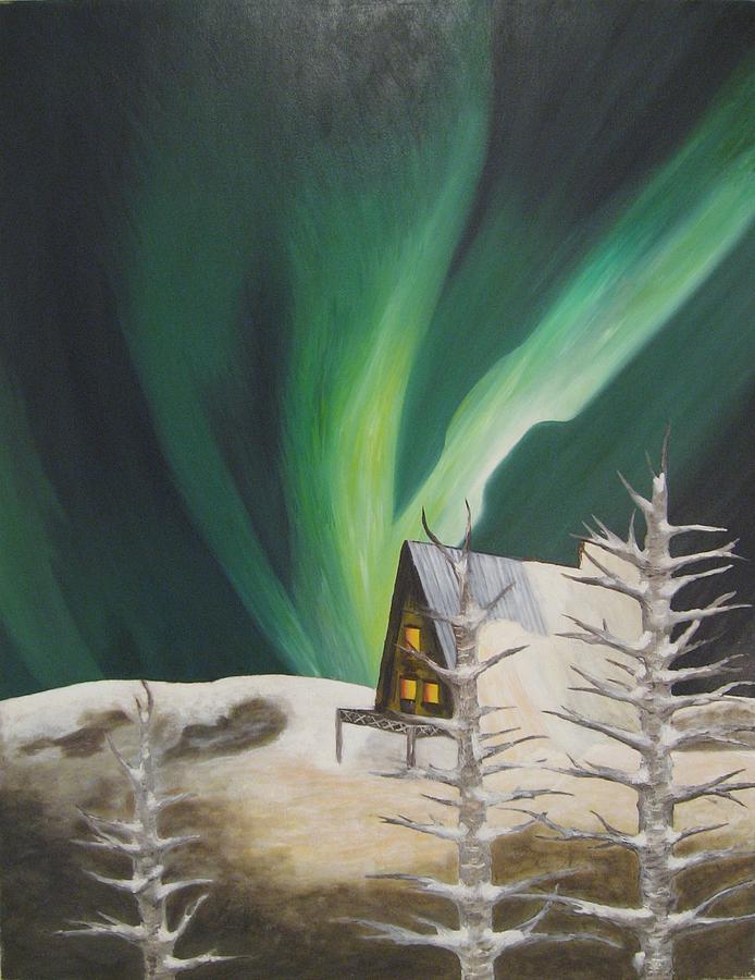 #green #aurora Painting by Ken Hakki