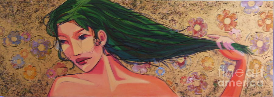 Woman Painting - Green by Azadeh Amiri