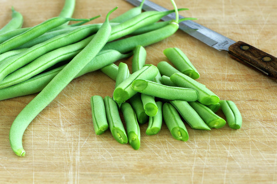 Green Beans Sliced With a Knife by Sharon Talson