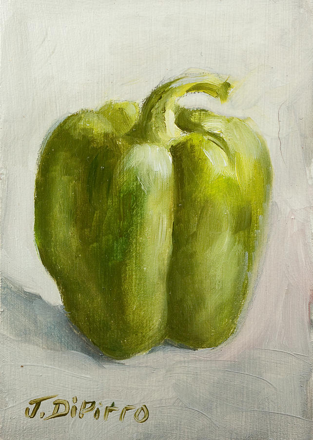 Green Painting - Green Bell Pepper by Joni Dipirro