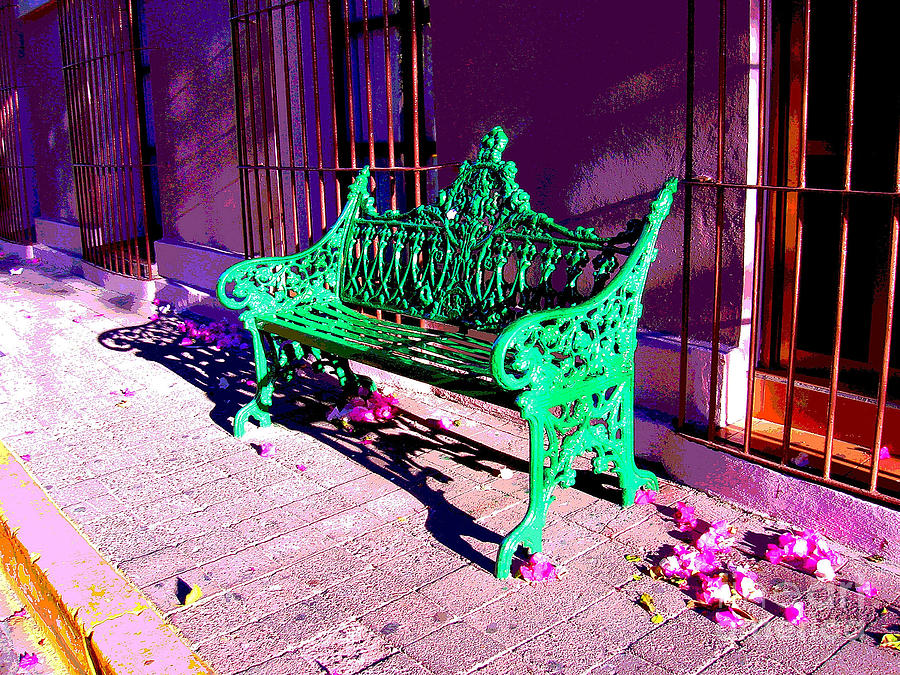 Michael Fitzpatrick Photograph - Green Bench By Michael Fitzpatrick by Mexicolors Art Photography