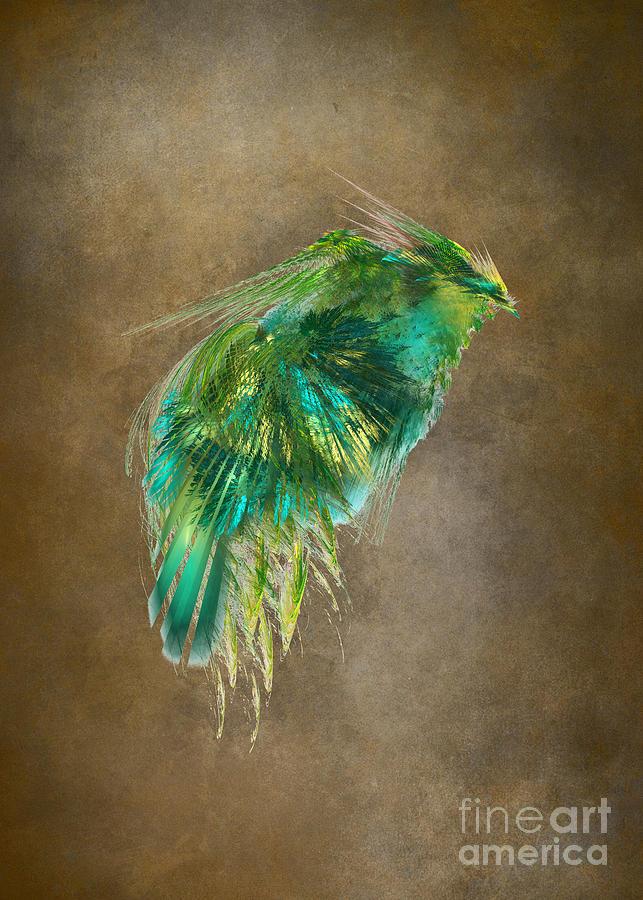 Green Digital Art - Green Bird - Fractal Art by Justyna Jaszke JBJart