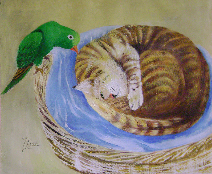Fantasy Painting - Green Bird by Lian Zhen