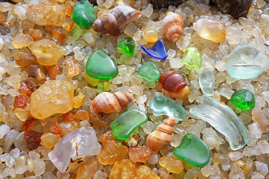 Green Blue Sea Glass Art Prints Photograph