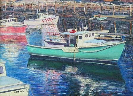 Water Painting - Green Boat Reflections by Richard Nowak