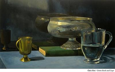 Still Life Painting - Green Book And Cups by Chris Hsu