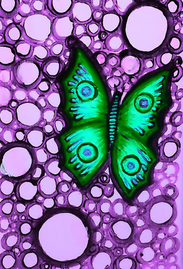 Green Painting - Green Butterfly II by Brenda Higginson