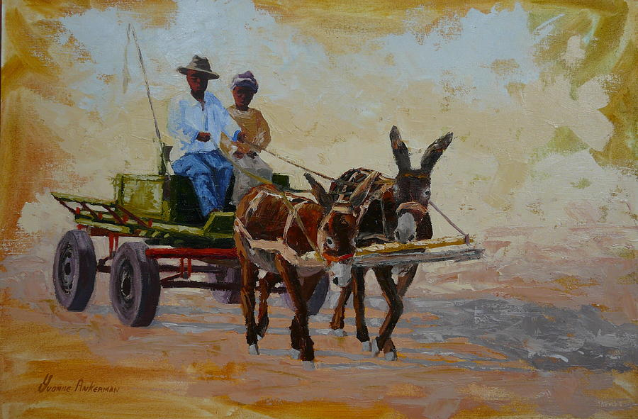 Landscape Painting - Green Cart by Yvonne Ankerman