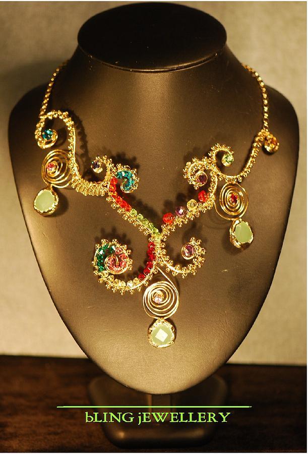 Wire Jewelry - Green Chalcedony And Swarovski Crystal Wire Wrapped Necklace by Janine Antulov