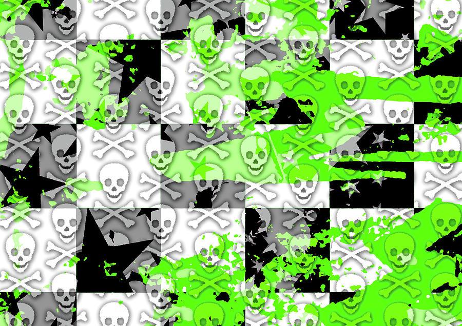 Green Checker Skull Splatter Digital Art