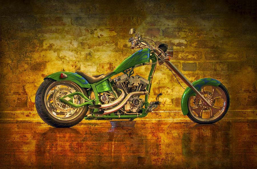 2-wheeler Photograph - Green Chopper by Debra and Dave Vanderlaan