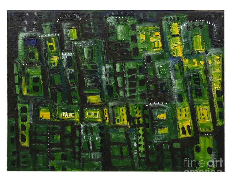 Abstract Cityscape Painting - Green Cities by Maria Curcic