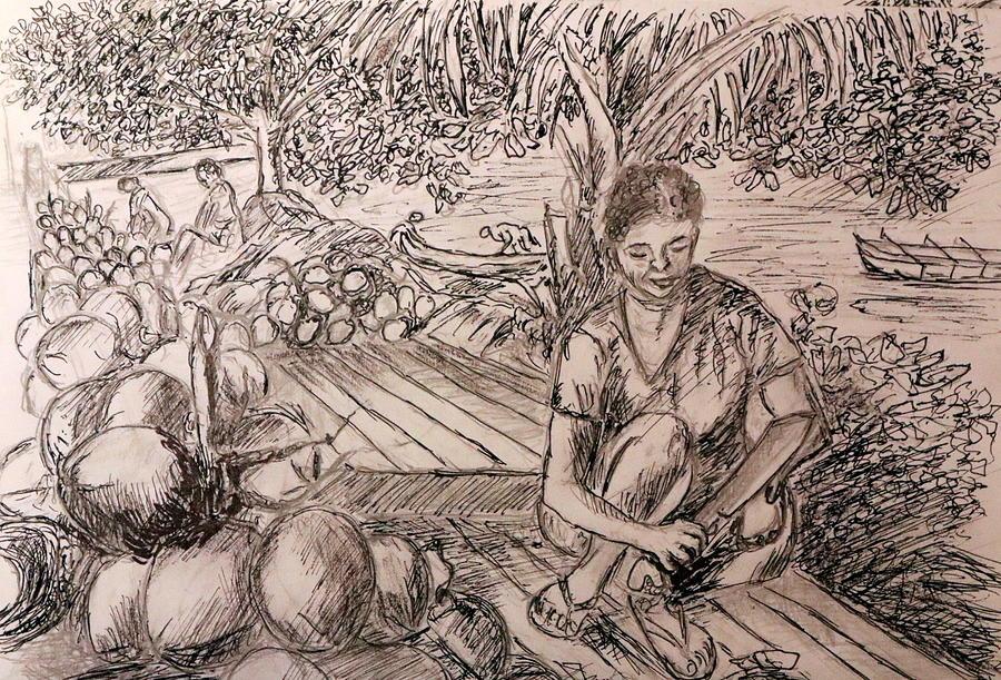 Green Coconut Cafe Drawing By Jason Sentuf