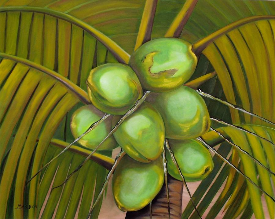 Green Coconuts Painting by Rafael Marin