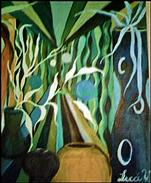 Oil Painting - Green Corridor by Lecca