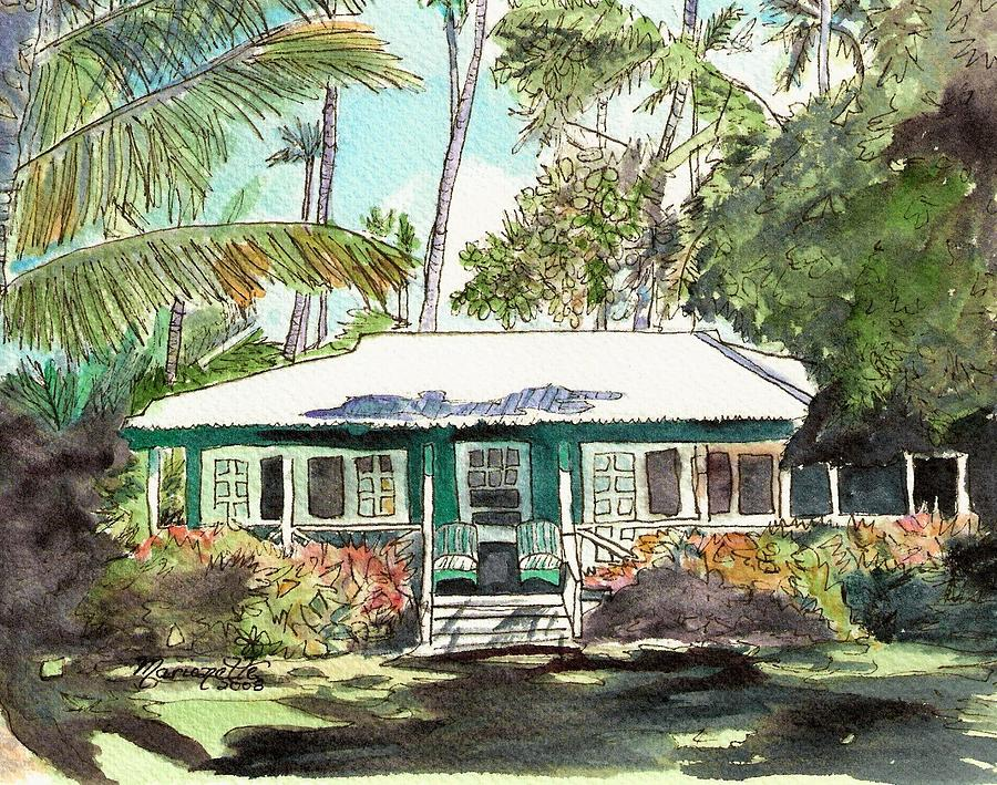 Cottage Painting - Green Cottage by Marionette Taboniar