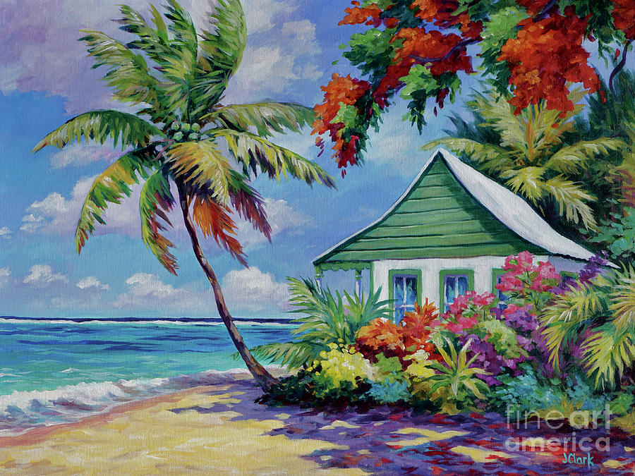 Green Painting - Green Cottage On The Beach by John Clark