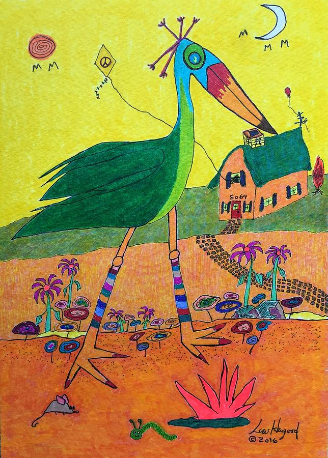 Green Crane with Leggings and Painted Toes by Lew Hagood