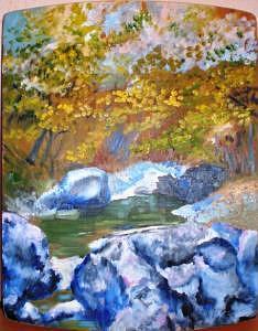Green Creek Painting by Jenia Tyshchenko