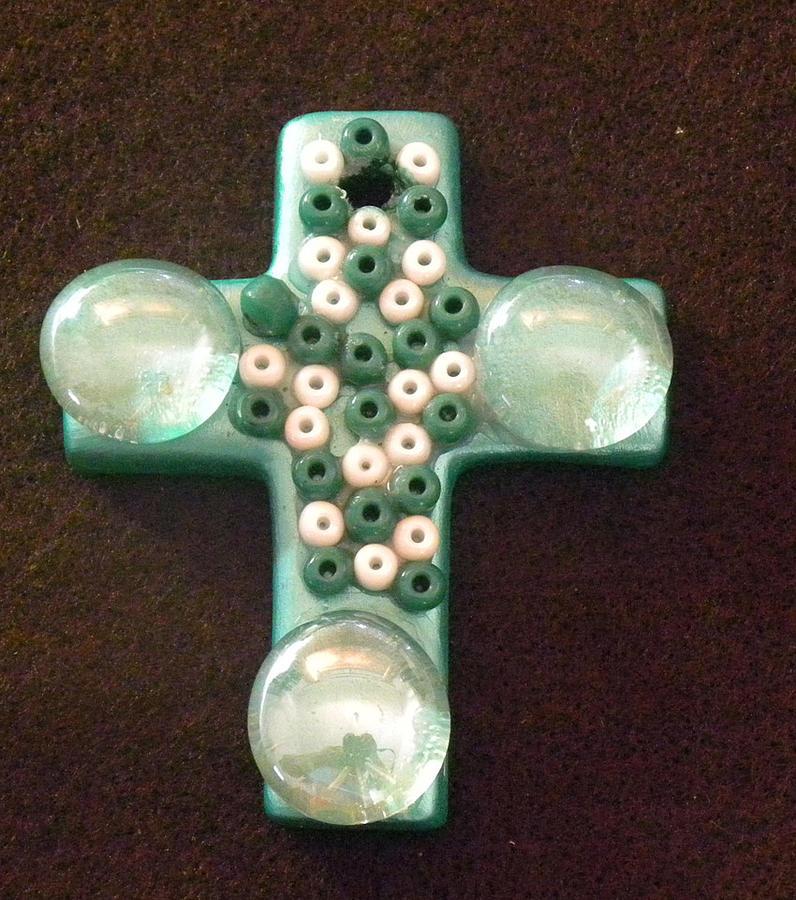 Cross Mixed Media - Green Cross by Arlene Barrios
