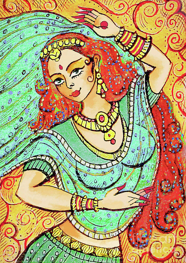 Indian Dancer Painting - Green Devi by Eva Campbell