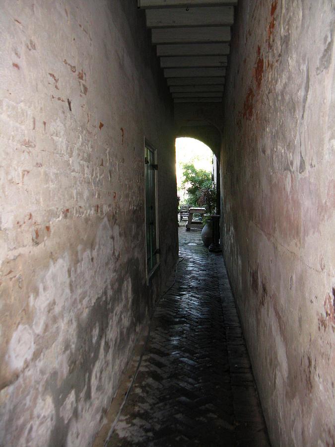 Alley Photograph - Green Door 5 by Tom Hefko