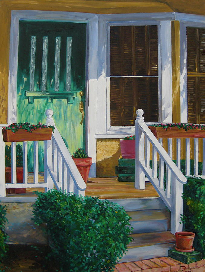 Green Painting - Green Door by Karen Doyle